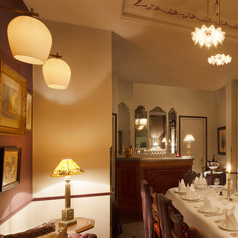 Another night view of the private dining room of the Square Trousseau